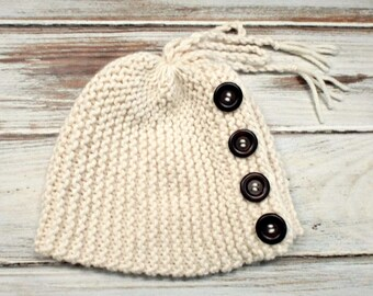 Knit Hat Womens Hat - Sybil Hat Cowl - Convertible Beanie and Cowl - Cream Hat Cream Cowl Womens Accessories - READY TO SHIP
