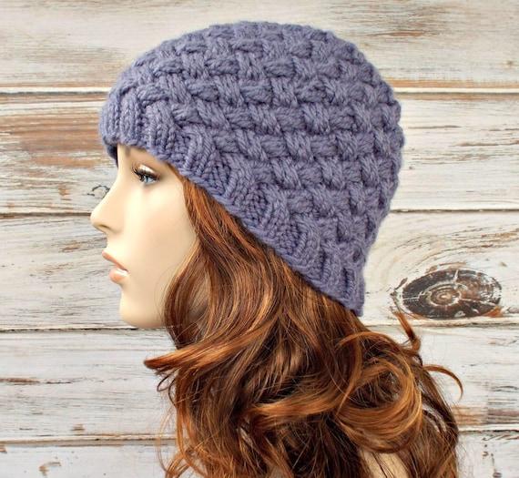 Instant Download Knitting Pattern - Womens Knit Hat Pattern - Knit Hat Pattern for Harlow Basket Weave Beanie Pattern - Womens Hat