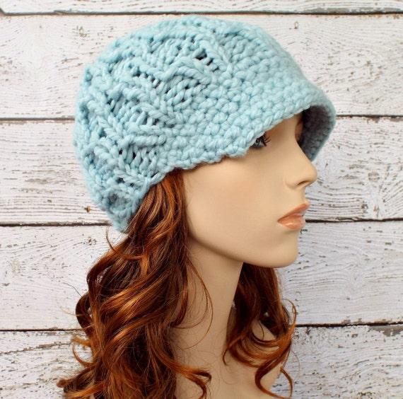 Blue Newsboy Hat Knit Hat Womens Hat Blue Hat Blue Beanie - Amsterdam Beanie Glacier Mint Blue Knit Hat Womens Accessories