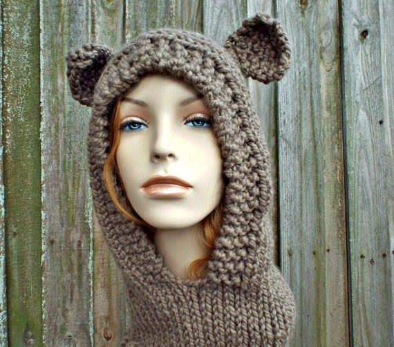 Womens Brown Mama Bear Knit Hooded Cowl Hat Snood - Womens Accessories Fall Fashion Winter Hat