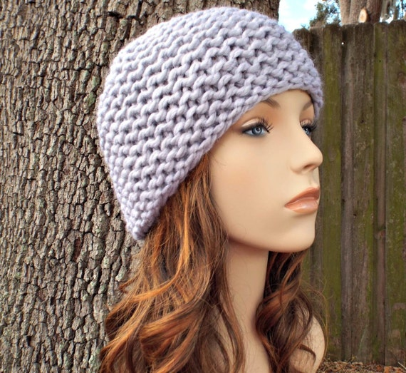 Knit Hat Womens Hat Grey Hat Grey Beanie - Garter Beanie in Pewter Grey Knit Hat - Womens Accessories Winter Hat