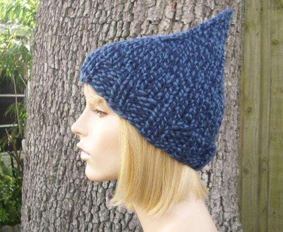 Twist Blue Gnome Hat Chunky Knit Hat Womens Hat - Blue Hat Blue Beanie Blue Gnome Beanie Womens Accessories Winter Hat