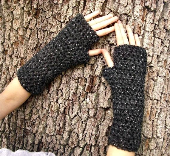 Crocheted Fingerless Gloves Mittens - Fingerless Gloves in Constellation Metallic Charcoal Grey - Grey Gloves Womens Accessories