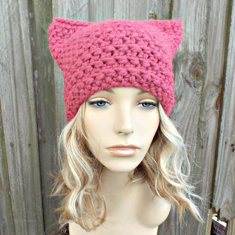 56b4923558b Pink Cat Hat Thermal Crochet Womens Winter Beanie in