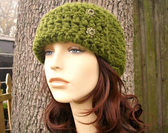 Olive Green Cloche Hat Crochet Hat Womens Hat 1920s Flapper Hat - Garbo Cloche - Green Hat Green Beanie Womens Accessories Winter Hat
