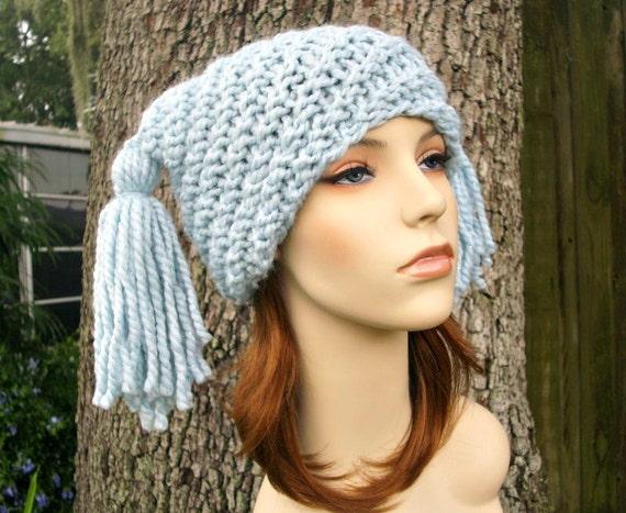 Knit Hat Womens Hat - Spiral Ponytail Tassel Hat in Metallic Mystical Blue Knit Hat - Blue Hat Womens Accessories Winter Hat
