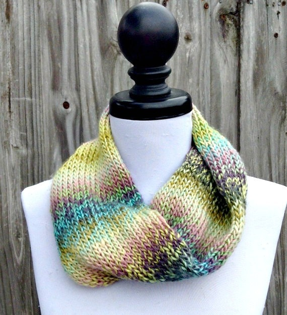 Double Knit Circle Scarf Womens Scarf - Watercolors Pastel Scarf - Rainbow Cowl Scarf Womens Accessories Fall Fashion - READY TO SHIP