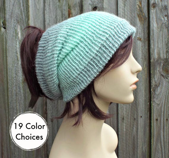 Silver and Mint Double Knit Tube Hat For Dreads - Messy Bun Hat Dread Beanie Dreadlock Headband Head Wrap Head Sock - 19 Color Choices