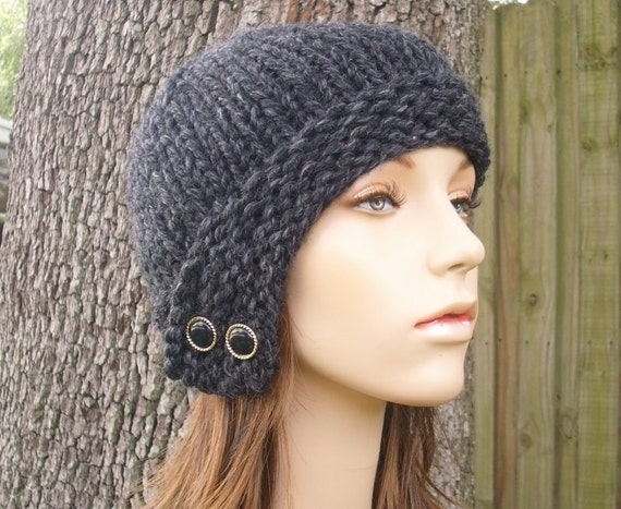 Womens Knit Cloche Hat Charcoal Grey Beanie - Womens Accessories Fall Fashion Winter Hat