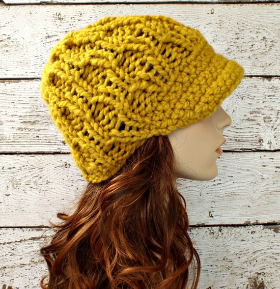 b8b567ed07b56b Knit Hat Yellow Hat Yellow Womens Hat Amsterdam Beanie with | Etsy