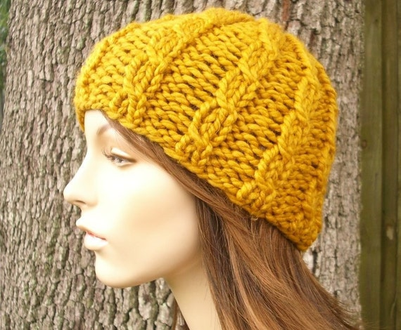 Mustard Yellow Cable Beanie Mustard Knit Hat Mustard Womens Hat - Mustard Hat Mustard Beanie Yellow Hat Womens Accessories Winter Hat