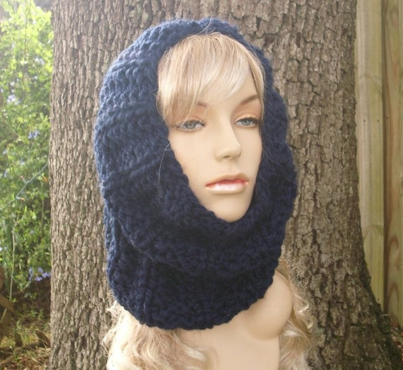 Knit Cowl Scarf - Twilight Cowl in Navy Blue Cowl - Navy Blue Scarf Navy Blue Cowl Navy Scarf Navy Cowl Womens Accessories