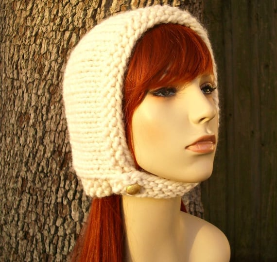Knit Hat Womens Hat - Pixie In Training Aviator Cap in Cream Knit Hat - Cream Hat Cream Beanie Cream Bonnet Womens Accessories Winter Hat