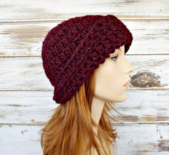 Crochet Hat Womens Hat 1920s Flapper Hat Garbo Cloche Hat in Cabernet Wine Red Crochet Hat Red Hat Womens Accessories - READY TO SHIP