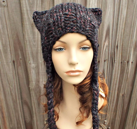 Knit Hat Womens Hat - Braided Ear Flap Hat Cat Hat in Black Wine Grey Knit Hat Black Hat Grey Hat Wine Hat Blackstone