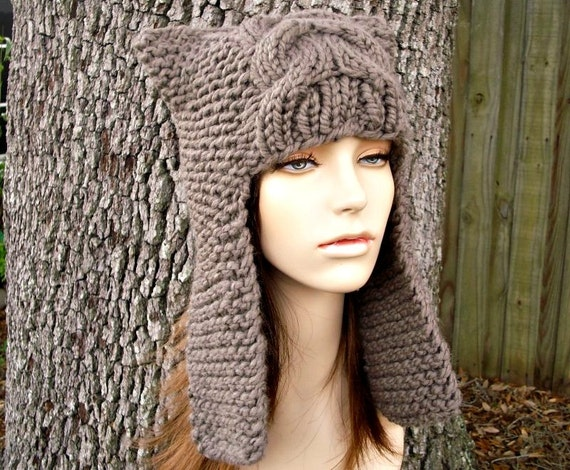 Taupe Brown Ear Flap Hat Brown Knit Hat Brown Womens Hat - Dragon Slayer - Brown Hat Taupe Hat Womens Accessories Winter Hat