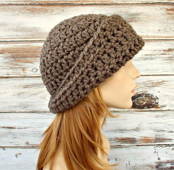 Crochet Hat Womens Hat 1920s Flapper Hat - Garbo Cloche Hat in Taupe Brown Crochet Hat - Brown Hat Taupe Hat Brown Cloche Womens Accessories