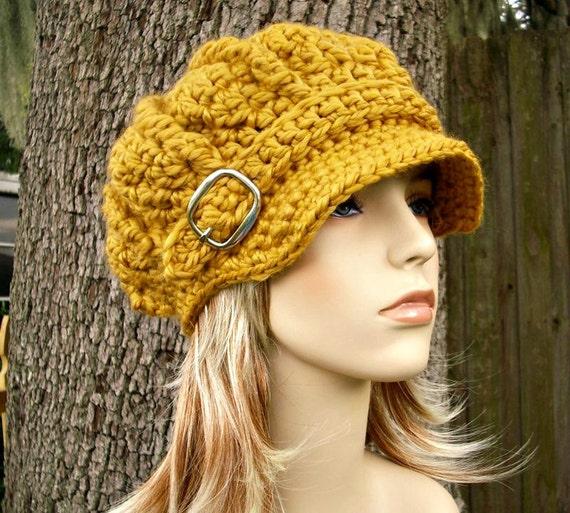 Winter Accessories Chunky Crochet Hat Fall Fashion Newsboy Hat Oversized Newsboy Cap Mens Hat Womens Hat Goldenrod Winter Hat