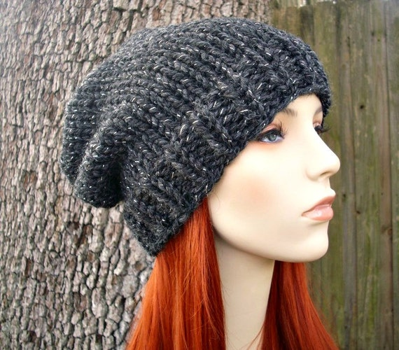 Charcoal Grey Slouchy Hat Knit Hat Womens Hat Mens Hat Grey Hat - Toque Beanie Constellation Grey Knit Hat - Womens Accessories Winter Hat