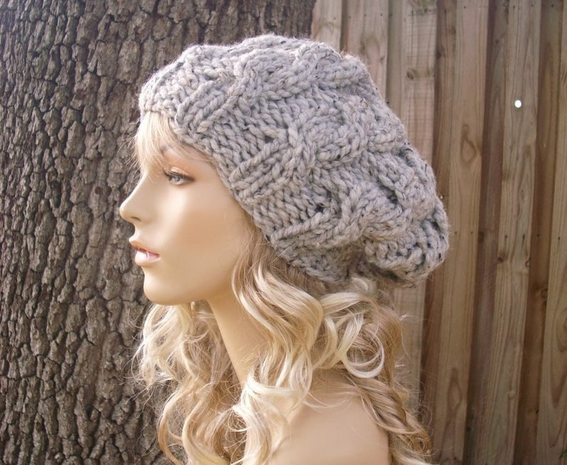 8b9a957838e Knit Hat Grey Womens Hat Slouchy Hat Grey Cable Beret Hat in