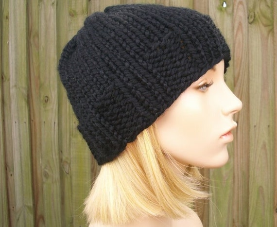Black Mens Beanie Knit Hat Black Womens Hat - Ribbed Brim Skullcap - Black Hat Black Beanie Black Mens Hat Womens Accessories Winter Hat
