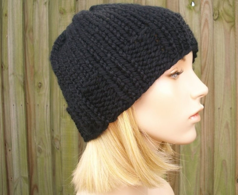 Black Mens Beanie Knit Hat Black Womens Hat Ribbed Brim  d199266c55