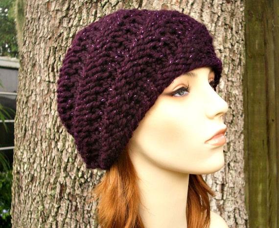 Knit Hat Womens Hat - Swirl Beanie in Galaxy Metallic Eggplant Purple Knit Hat - Purple Hat Purple Beanie Womens Accessories Winter Hat