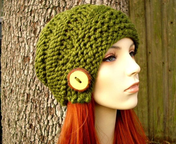 Chunky Knit Hat Womens Hat - Hybrid Swirl Cloche Hat Olive Green Knit Hat Green Hat Green Beanie Green Cloche Womens Accessories Winter Hat