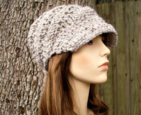 Marble Grey Newsboy Hat Chunky Knit Hat Womens Hat - Swirl Beanie with Visor - Grey Knit Hat Grey Hat Grey Beanie Womens Accessories