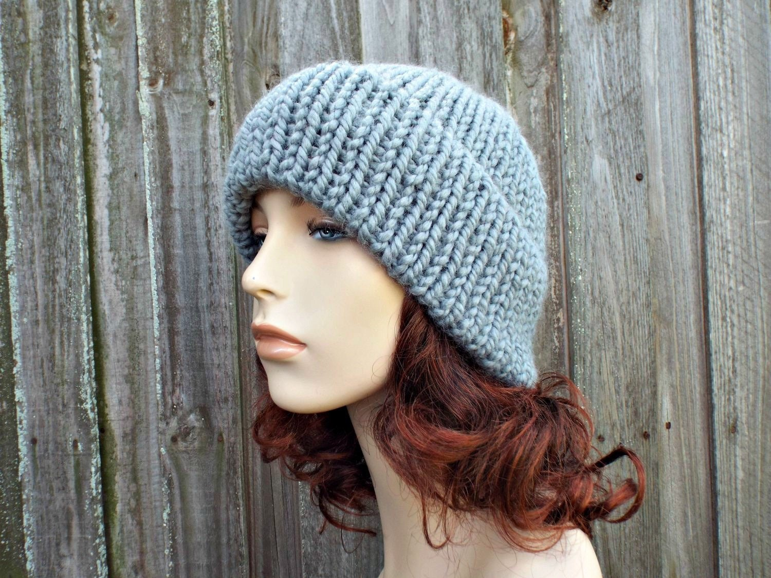 97957f3c4fa839 Double Thick Brim Knit Hat - Grey Mens or Womens Hat Slate Grey Beanie - Warm  Hat Thick Winter Beanie - Grey Hat Grey Beanie - READY TO SHIP