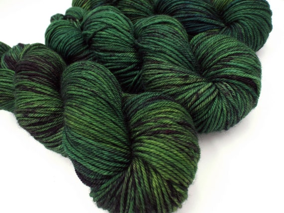 Hand Dyed Yarn 100% Superwash Merino Yarn Worsted Weight Yarn - 220 Yards - Tonal Semi-Solid Blue and Green Yarn - Mood Beetle