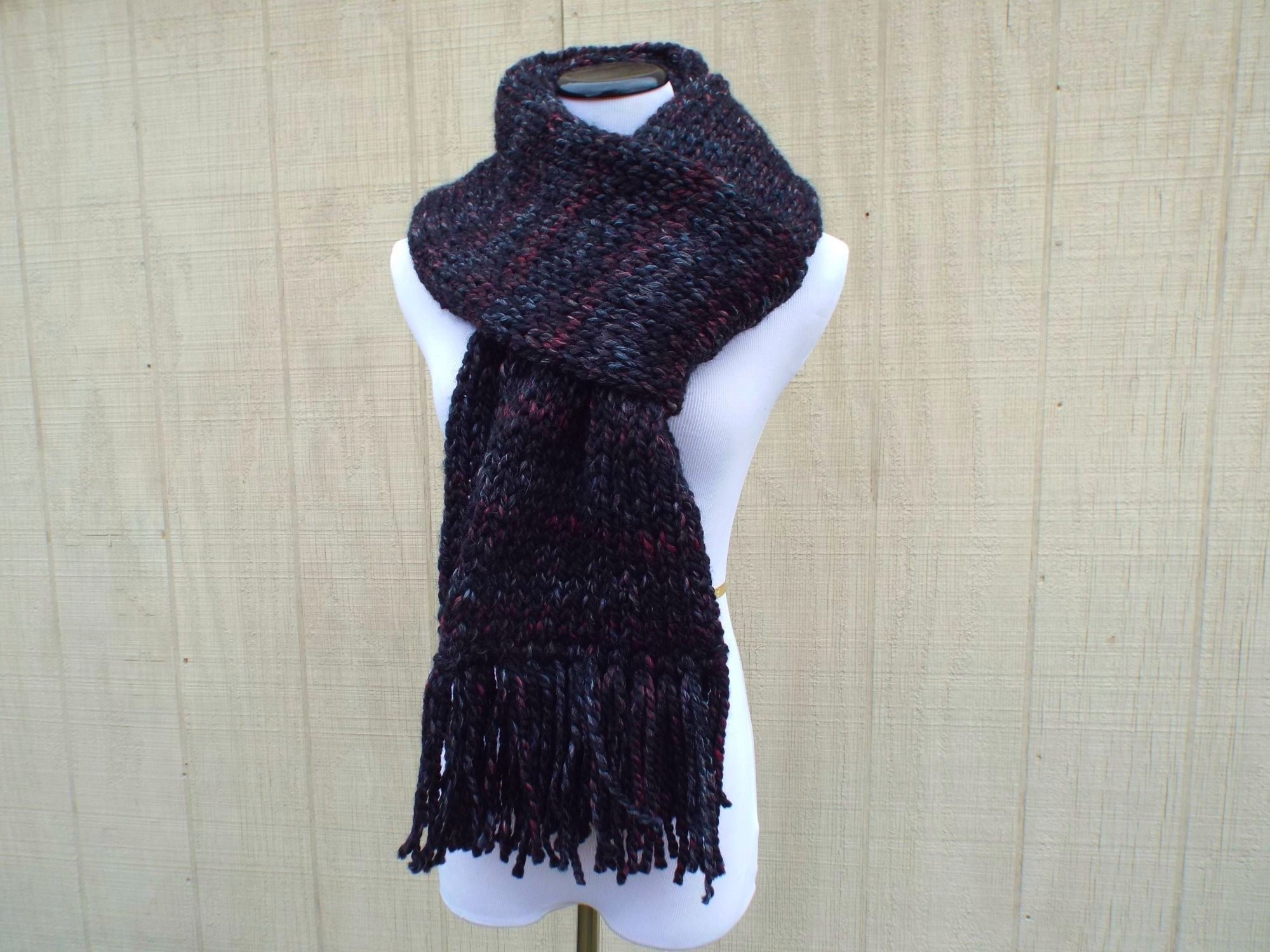 Super Chunky Double Thick 7 Foot Scarf With Fringe Black Knit