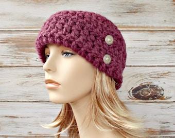 Crochet Hat Cloche Hat Womens Hat Winter Beanie - 1920s Flapper Hat Garbo Cloche Fig Purple