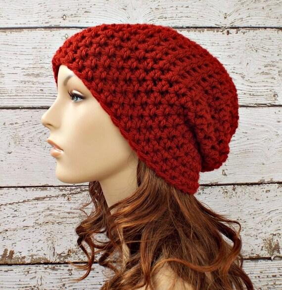 Crochet Hat Red Womens Hat - Slouchy Beanie Hat in Redwood Deep Red Slouchy Beanie - Red Hat Red Beanie Womens Accessories Winter Hat