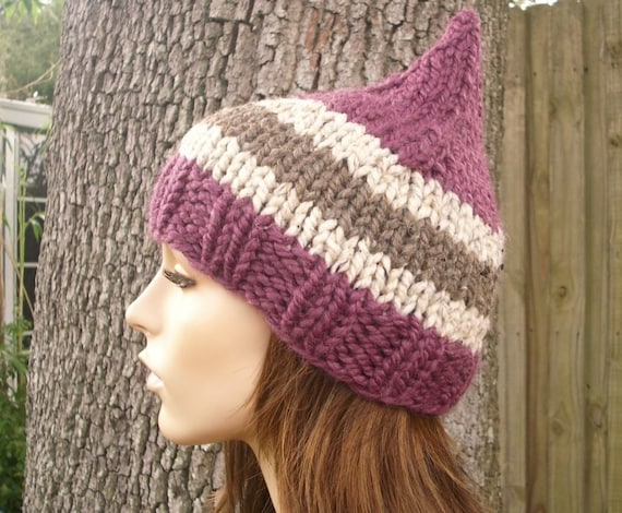 Knit Hat Womens Hat - Gnome Hat in Figgy Pudding Purple Knit Hat - Womens Accessories Winter Hat