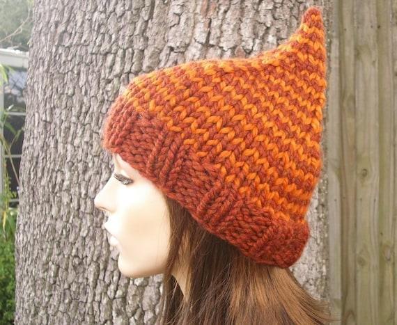 Orange Hat Orange Womens Hat - Orange Gnome Hat in Pumpkin and Spice Orange Knit Hat - Orange Beanie Womens Accessories Winter Hat