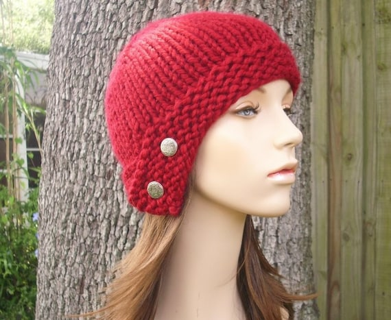 288baf90da3c57 Knit Hat Womens Hat - Cloche Hat in Cranberry Red Knit Hat - Red Hat Red