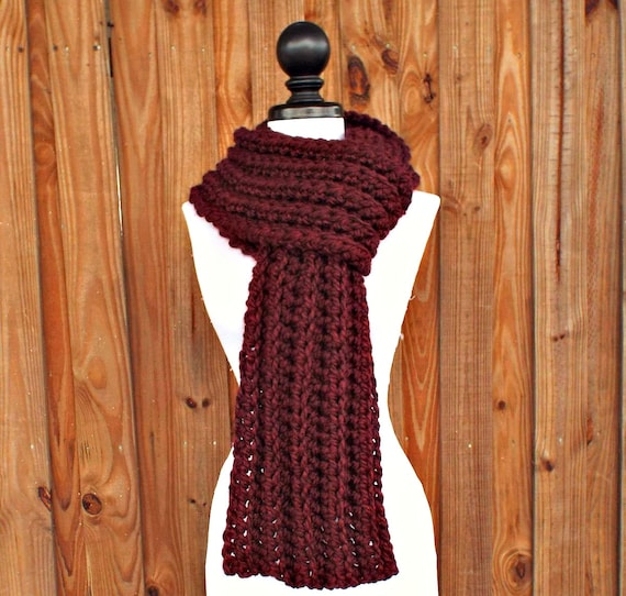 Crochet Scarf Womens Scarf Mens Scarf Ribbed Scarf - Wellington Scarf Red Scarf Burgundy Scarf - Womens Accessories