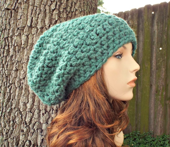 Heather Green Super Chunky Oversized Slouchy Beanie - Mens Hat Womens Hat - Green Hat Green Beanie Womens Accessories - READY TO SHIP