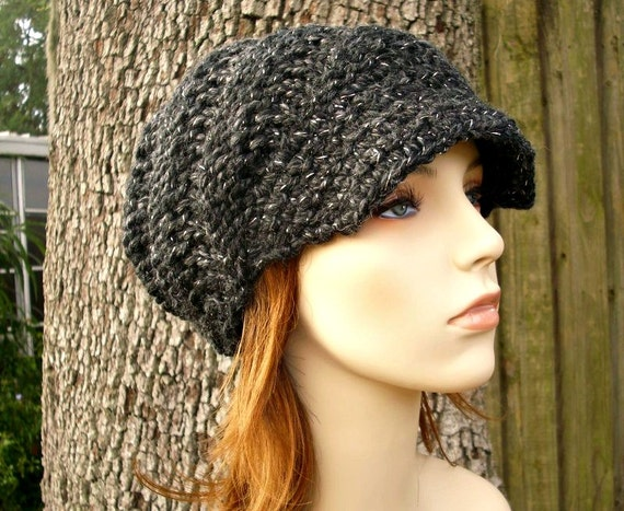 Grey Newsboy Hat Womens Hat Grey Hat - Swirl Beanie with Visor Constellation Charcoal Grey Knit Hat Womens Accessories