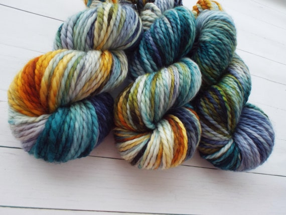 Hand Dyed Yarn 100% Superwash Merino Yarn Bulky Weight Yarn 109 Yards Variegated Yarn Ochre Teal Cyprus Olive Yarn - Postcards From Tuscany