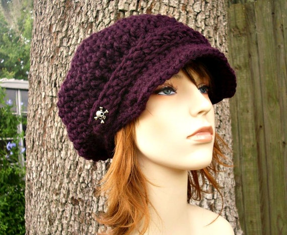 Purple Womens Hat Purple Newsboy Hat - Crochet Newsboy Hat in Eggplant Purple Crochet Hat - Purple Hat Womens Accessories