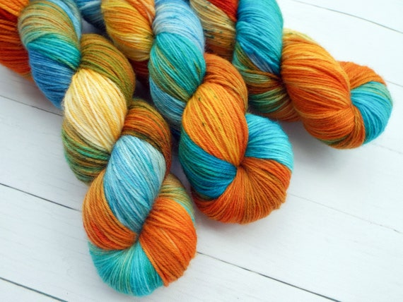 Hand Dyed Yarn Hand Dyed Sock Yarn Superwash Merino Nylon Blend 80/20 Fingering Weight Yarn - Orange Yarn Blue Yarn - Great Barrier Reef