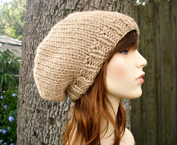 Tan Knit Hat Tan Womens Hat Slouchy Beanie - Champlain Beret Tan Hat Tan Beanie Tan Slouchy Hat Tan Beret - Womens Accessories Winter Hat