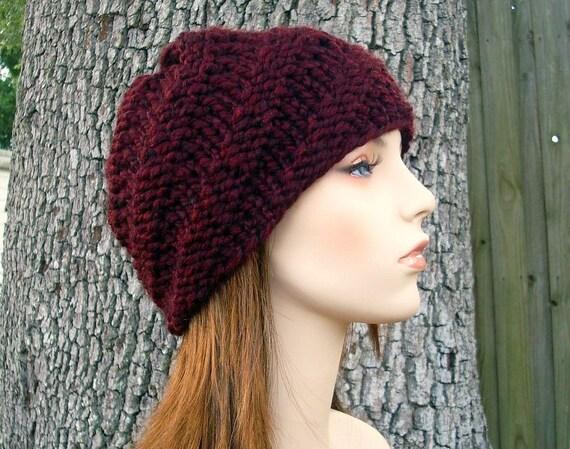 Knit Hat Womens Hat - Swirl Beanie in Oxblood Wine Red Knit Hat - Red Hat Red Beanie Wine Hat Wine Beanie Womens Accessories Winter Hat