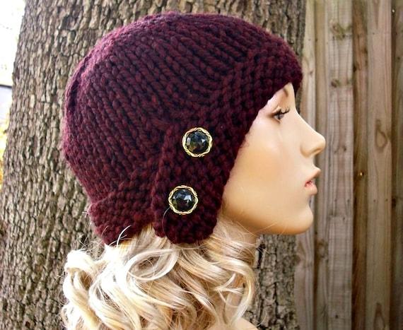 Knit Hat Red Womens Hat - Cloche Hat in Oxblood Wine Red Knit Hat - Red Hat Burgundy Hat Red Beanie Womens Accessories Winter Hat