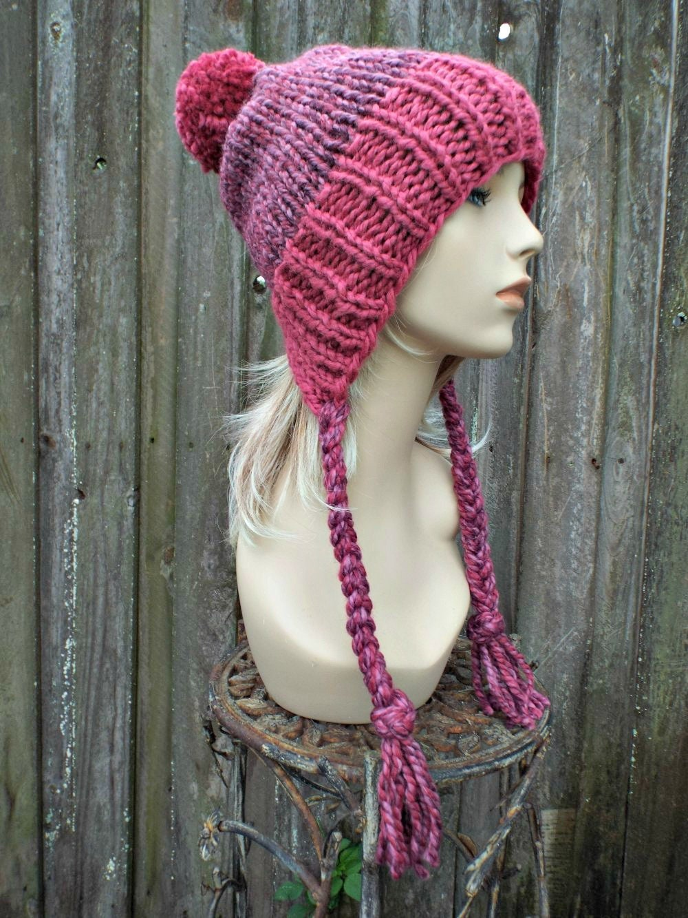 ecb3d707408 Chunky Knit Hat Womens Pink Pom Pom Hat - Slouchy Ear Flap Beanie With  Braided Ties Warm Winter Hat - Charlotte - READY TO SHIP