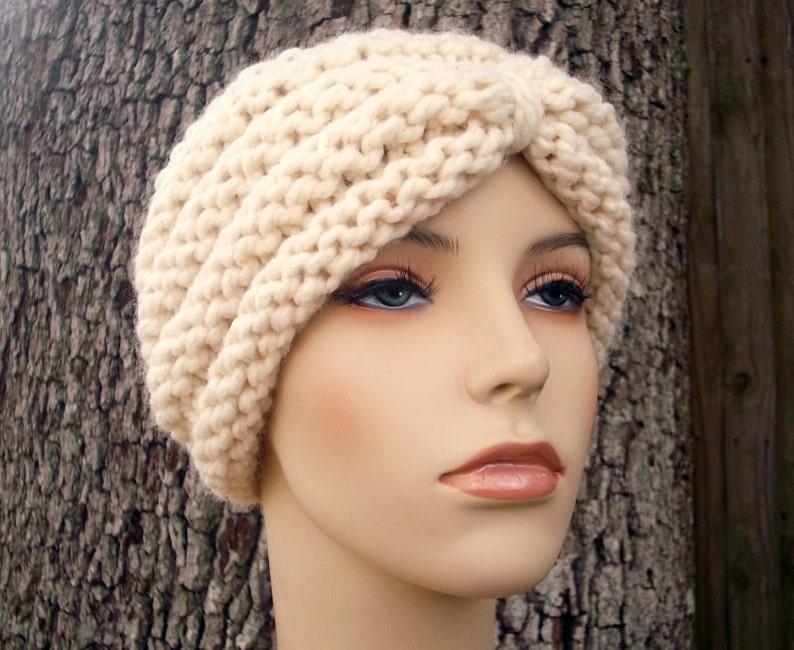 Knit Hat Cream Womens Hat Turban Hat Beanie in Cream Knit Hat Cream Hat Cream Beanie Cream Turban Womens Accessories Winter Hat