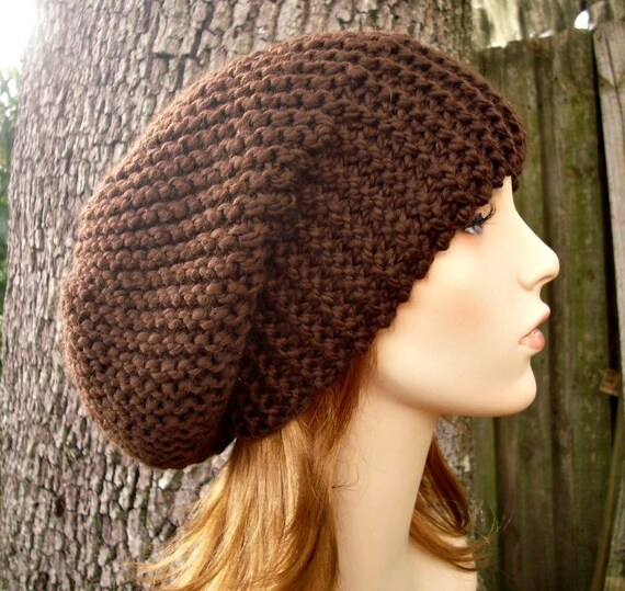 Brown Womens Hat Brown Mens Hat Slouchy Beanie - Slouchy Hat Chocolate Brown Knit Hat - Brown Hat Brown Beanie Womens Accessories Winter Hat