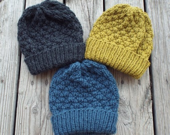 Knit Hat Pattern, Knit Beanie, Hat Knitting Pattern, Knitting Tutorial, Womens Hat, Mens Hat, Bulky Yarn, Folded Brim Beanie, Hickory Beanie